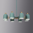 Modern Blue/Green Pendant Light Dome Shade 8 Lights Metal Chandelier for Nursing Room