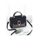 Fashion Colorblock Plaid Pattern Metal Buckle Satchel Shoulder Bag 24*10*17 CM