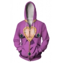 Fashion Comic Cosplay Costume 3D Heart Printed Zip Up Casual Purple Hoodie