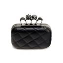 Designer Solid Color Rhinestone Skull Ring Embellishment Black Quilted Evening Clutch Bag 15*6*11 CM