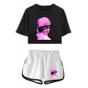 Trendy Vaporwave Figure Letter I NEED YOU Cropped Tee with Sport Loose Dolphin Shorts Two-Piece Set