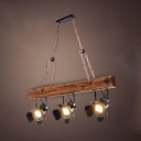 Wood Angle Adjustable Hanging Light 3 Lights Industrial Island Light in Brown for Dining Room