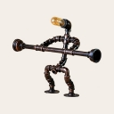Athlete Robot Restaurant Table Light Metal 1 Light Retro Loft Desk Light in Bronze