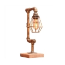 Cafe Water Pipe Desk Light with Wire Frame Metal 1 Light Industrial Bronze Study Lighting