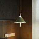 Restaurant Cone Shade Pendant Light Metal 1/3 Lights Nordic Style Green/White Hanging Light