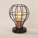 Globe Wire Frame Table Light Metal 1 Light Industrial Black Desk Light for Bedroom Shop