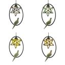 Vintage Star Pendant Light with Resin Bird Glass 1 Light Black Suspension Light for Balcony