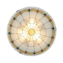 Dome Living Room Flush Mount Light with Beads Glass 16 Inch Tiffany Ceiling Lamp in Warm/White