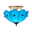 Antique Style Umbrella Semi Flush Mount Light Glass Blue Inverted Ceiling Fixture for Hallway