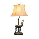 Fabric Bell Shade Desk Light 1 Light Rustic Style Table Lamp in Beige for Office Bedroom