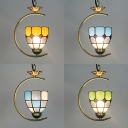 1 Head Grid Dome Pendant Lamp Tiffany Style Vintage Glass Hanging Light for Living Room