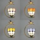 Restaurant Lattice Dome Pendant Light Glass 1 Head Tiffany Vintage Brass Suspension Light