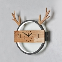 Wood Antlers Clock Wall Light Modern Macaron Colored LED Ceiling Lamp in Warm White/White for Bedroom