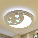 Kids White LED Ceiling Fixture Star Moon Metal Stepless Dimming/Third Gear/White Lighting Flush Light for Bedroom