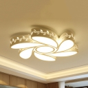 Metal Floral Theme Ceiling Fixture Modern LED Flush Ceiling Light in Warm White/White for Study Room