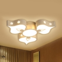 Petal Living Room LED Ceiling Mount Light Aluminum 3/4 Heads Romantic Ceiling Fixture in Warm/White
