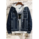 Guys Trendy Unique Bleach Contrast Piping Long Sleeve Casual Blue Denim Jacket