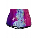 Summer Popular Vaporwave Cool 3D Pattern Elastic Waist Sport Loose Dolphin Shorts