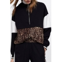 Chic Leopard Patched Colorblock Long Sleeve Half-Zip Front Casual Loose Hoodie