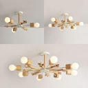 Nordic Style Snowflake Chandelier Wood 3/6/8 Lights Beige Pendant Lamp for Living Room Kid Bedroom