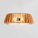 Hollow Drum Dining Room Chandelier Wood Three Lights Japanese Stylish Hanging Lamp in Beige