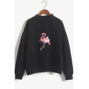 Basic Simple Flamingo Pattern Mock Neck Long Sleeve Casual Sweatshirt