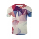 Popular 3D Geometric Pattern Round Neck Short Sleeve Casual Tee
