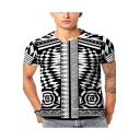 Summer Tribal Geometric Printed Round Neck Short Sleeve Black Tee