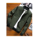 Mens Trendy Stand Collar Long Sleeve Zip Up Casual Loose Jacket