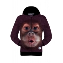 Funny Cute 3D Gorilla Pattern Unisex Long Sleeve Zip Up Sport Loose Purple Hoodie