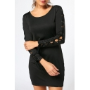 Chic Hollow Out Eyelet Lace-Up Long Sleeve Round Neck Simple Plain Mini Bodycon Black Dress
