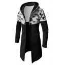 Mens New Trendy Camouflage Pattern Long Sleeve Slim Fitted Longline Hoodie