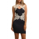 Hot Popular Sexy Hollow Out Crochet Sleeveless Mini Black Bodycon Dress