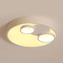 Acrylic Round LED Ceiling Lamp Cartoon Blue/Pink/White Flushmount Light in Warm/White for Kindergarten