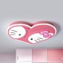 Cartoon Heart Kitty Flush Ceiling Light Metal LED Ceiling Lamp in Warm/White for Girls Bedroom