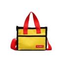 Stylish Color Block Letter YILIBAO Patchwork Canvas School Shoulder Bag 22*9*18 CM