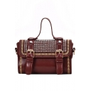 New Fashion Plain Belt Buckle Rivet Embellishment PU Leather Satchel Messenger Bag 18*12*7 CM