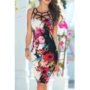 Fashion Hollow Out Lattice Collar Sleeveless Chic Floral Pattern Midi Pencil Dress for Women