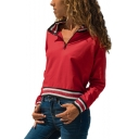 Fashion Rib Striped Hem Half-Zip Stand Collar Long Sleeve Casual Sweatshirt