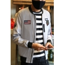 Classic Flag Badge Patched Stand Collar Long Sleeve Zip Closure Fitted Flight Bomber Jacket