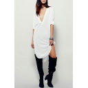Womens New Fashion Sexy Plunging V-Neck Long Sleeve Simple Plain Midi Slouchy Asymmetrical Dress