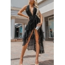 Womens Summer Sexy Halter Plunging Neck Sleeveless Open Back High Low Ruffled Black Dress