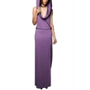 Vintage Medieval Simple Solid Color Hooded Sleeveless Split Side Maxi Shift Dress
