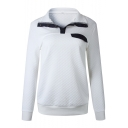 Hot Popular Button Embellished Stand Collar Long Sleeve Plain Pullover Sweatshirt