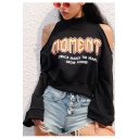 Girls Hip Hop Style Cool Letter MOMENT Print Cold Shoulder Long Sleeve Black Sweatshirt
