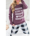 Popular Letter SLEIGH-IN IT Pattern Basic Round Neck Long Sleeve Casual Loose Purple Graphic Tee
