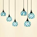 Bedroom Globe Pendant Light Stained Glass 3 Heads Mediterranean Style Blue Ceiling Pendant
