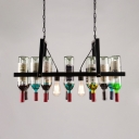 Colorful Wine Bottle Pendant Light 2 Lights Industrial Metal Hanging Light for Restaurant Bar