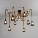 Antique Stylish Beige Pendant Light Spider Shape 8 Lights Manila Rope Hanging Light for Restaurant