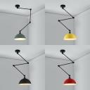 Nordic Bowl Extendable Hanging Light Aluminum 1 Light Black/Green/Red/Yellow Ceiling Light for Bedroom